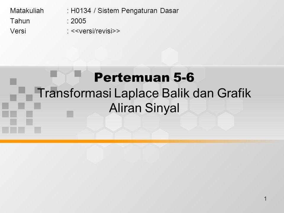 1 Pertemuan 5-6 Transformasi Laplace Balik dan Grafik Aliran Sinyal Matakuliah: H0134 / Sistem Pengaturan Dasar Tahun: 2005 Versi: >