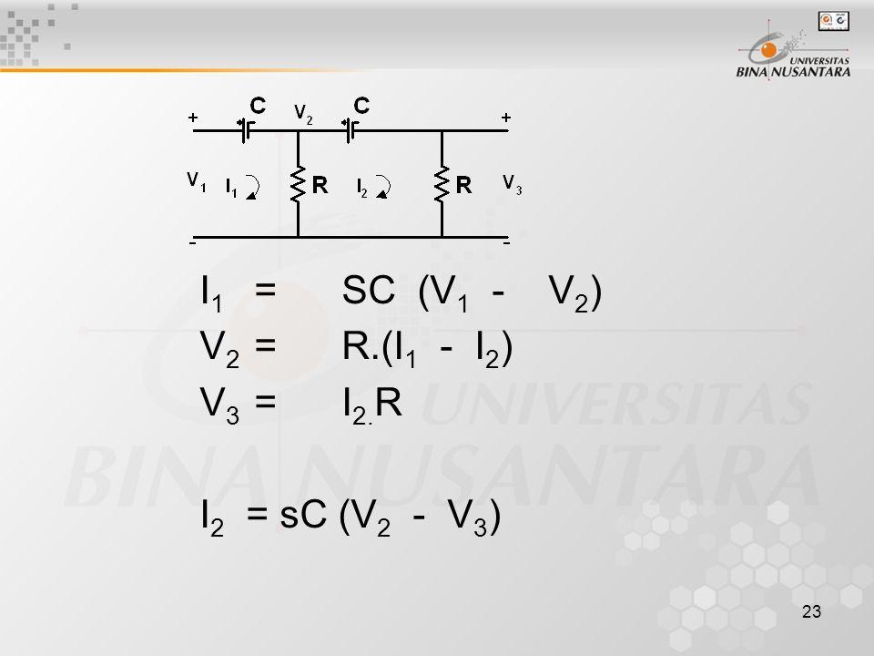 23 I 1 =SC (V 1 - V 2 ) V 2 =R.(I 1 - I 2 ) V 3 =I 2. R I 2 = sC (V 2 - V 3 )