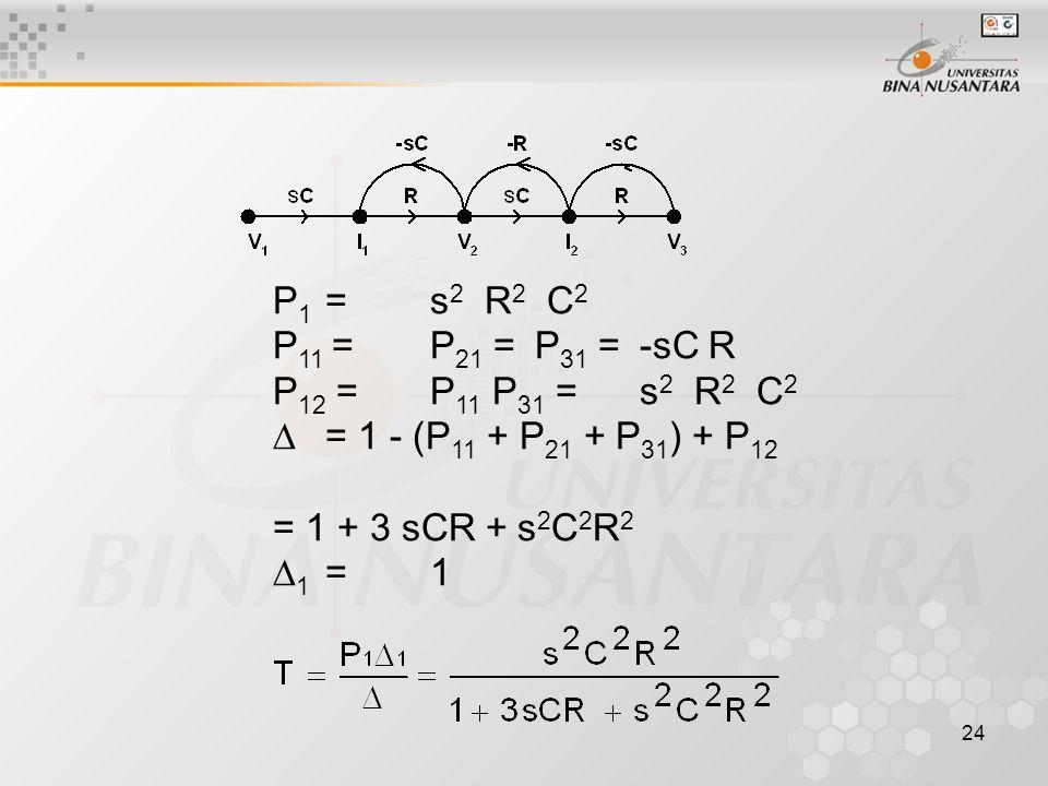 24 P 1 =s 2 R 2 C 2 P 11 =P 21 =P 31 =-sC R P 12 =P 11 P 31 =s 2 R 2 C 2  = 1 - (P 11 + P 21 + P 31 ) + P 12 = 1 + 3 sCR + s 2 C 2 R 2  1 =1