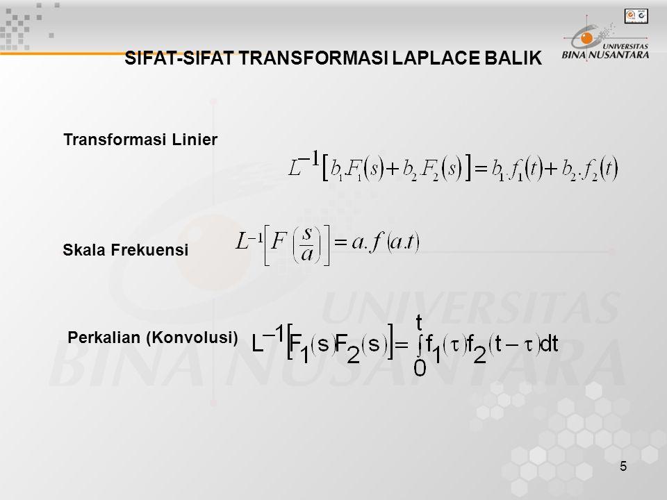5 SIFAT-SIFAT TRANSFORMASI LAPLACE BALIK Transformasi Linier Skala Frekuensi Perkalian (Konvolusi)