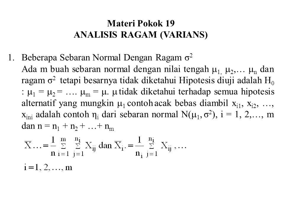 Materi Pokok 19 ANALISIS RAGAM (VARIANS) 1.Beberapa Sebaran Normal Dengan Ragam σ 2 Ada m buah sebaran normal dengan nilai tengah  1,  2,…  n dan r