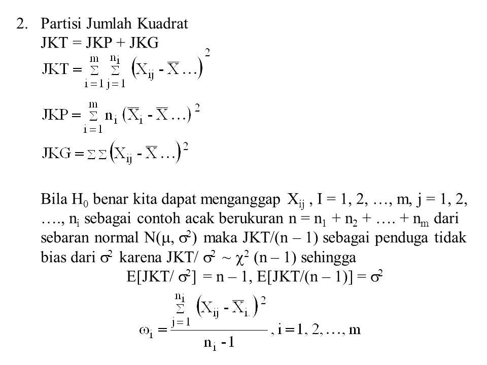2.Partisi Jumlah Kuadrat JKT = JKP + JKG Bila H 0 benar kita dapat menganggap X ij, I = 1, 2, …, m, j = 1, 2, …., n i sebagai contoh acak berukuran n