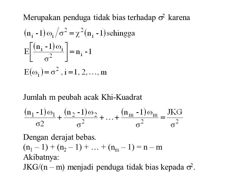 Merupakan penduga tidak bias terhadap  2 karena Jumlah m peubah acak Khi-Kuadrat Dengan derajat bebas. (n 1 – 1) + (n 2 – 1) + … + (n m – 1) = n – m