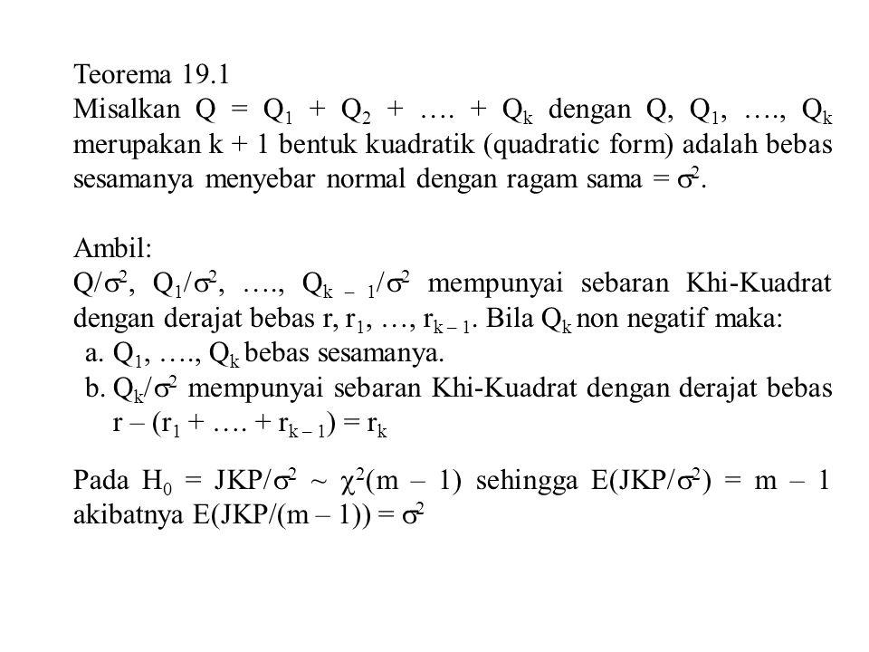 Teorema 19.1 Misalkan Q = Q 1 + Q 2 + …. + Q k dengan Q, Q 1, …., Q k merupakan k + 1 bentuk kuadratik (quadratic form) adalah bebas sesamanya menyeba