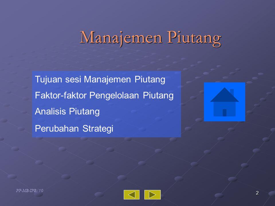 PP-MB-IPB/10 3 Tujuan Sesi Piutang  Memahami faktor-faktor yang perlu dipertimbangkan dalam mengelola piutang  Mampu melakukan analisis untuk mendapatkan kebijakan kredit yang optimal