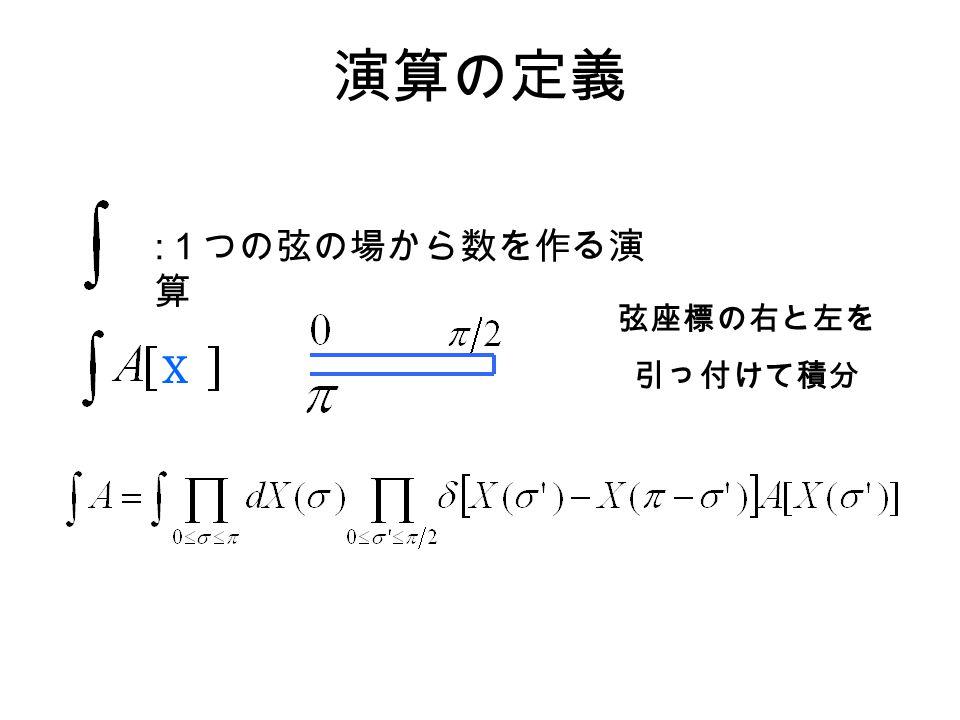 演算の定義 : 1つの弦の場から数を作る演 算 X 弦座標の右と左を 引っ付けて積分