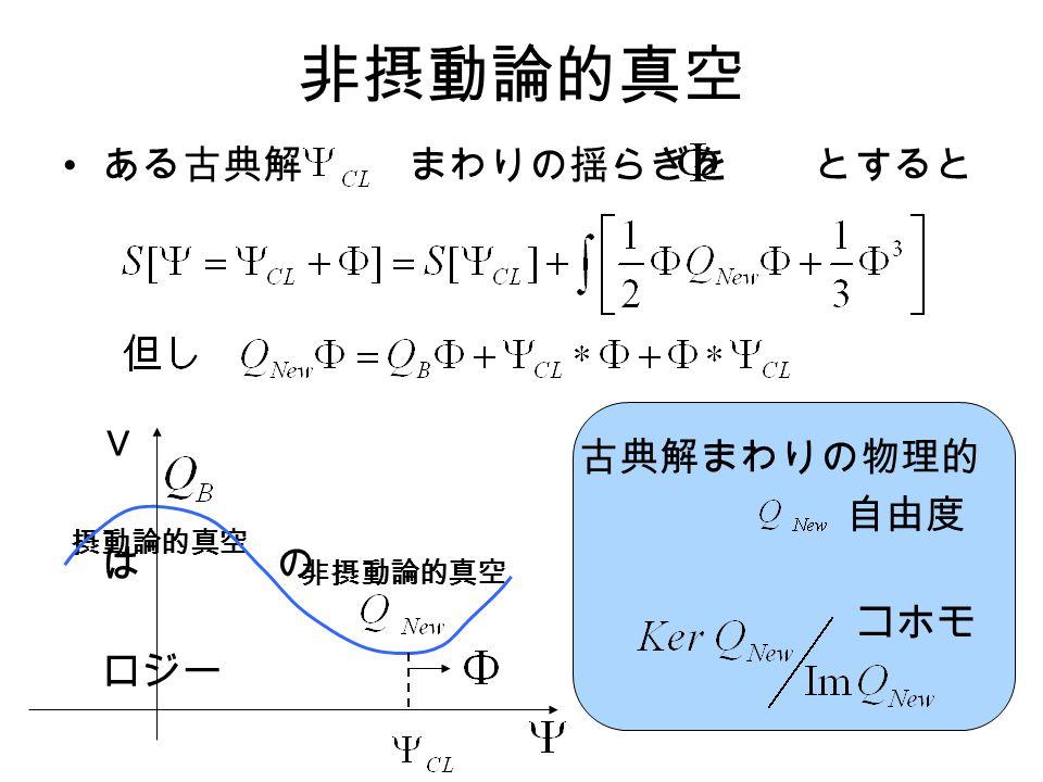 非摂動論的真空 ある古典解 まわりの揺らぎを とすると 古典解まわりの物理的 自由度 は の コホモ ロジー V 摂動論的真空 非摂動論的真空
