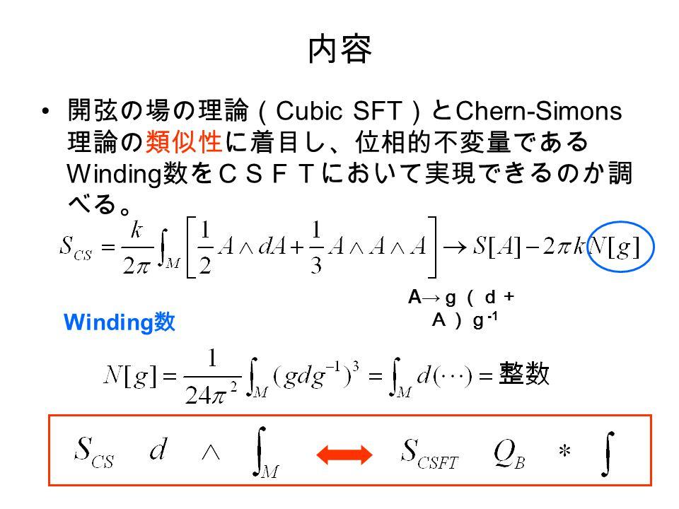 内容 開弦の場の理論( Cubic SFT )と Chern-Simons 理論の類似性に着目し、位相的不変量である Winding 数をCSFTにおいて実現できるのか調 べる。 Winding 数 A→ g(d+ A)g -1