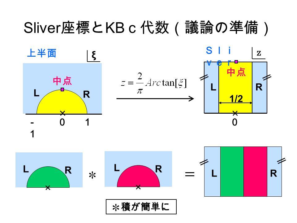 L R L R Sliver 座標と KB c代数(議論の準備) L R 中点 00 LR ξ z LR 積が簡単に 1-1-1 1/2 上半面 Sli ver