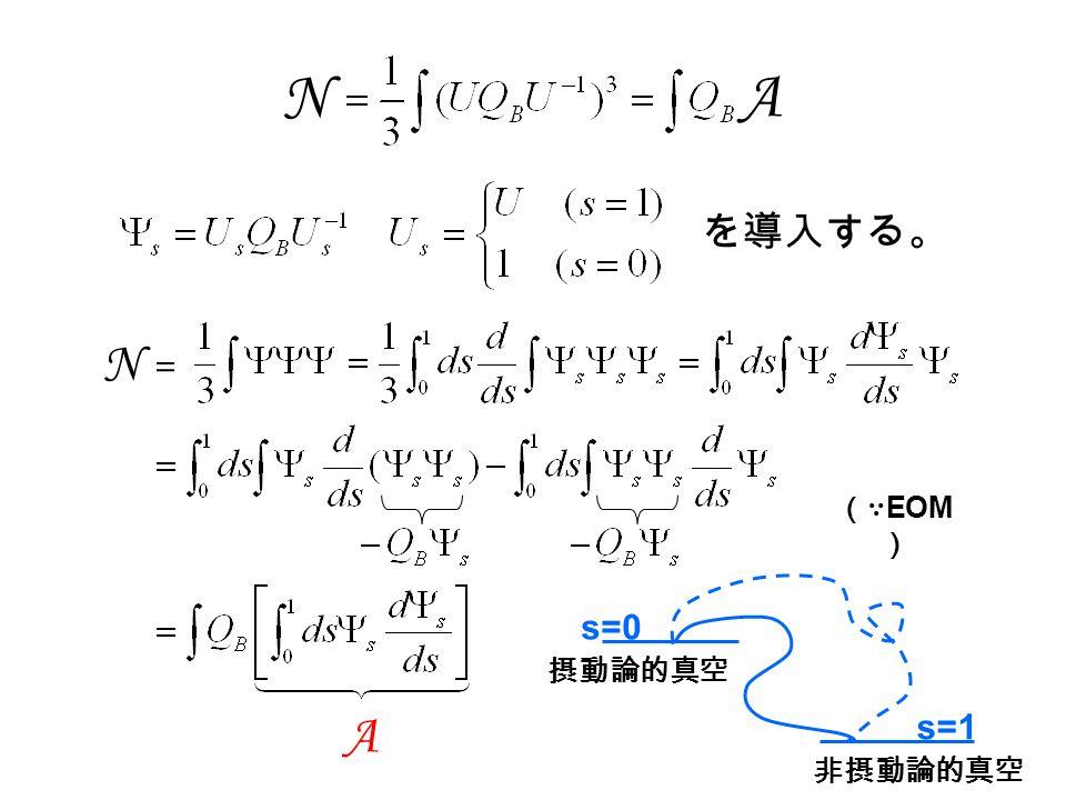 (∵ EOM ) A N = を導入する。 N A s=0 s=1 摂動論的真空 非摂動論的真空