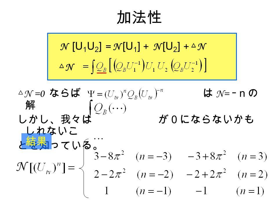 加法性 △ N =0 ならば は N= ーnの 解 しかし、我々は が0にならないかも しれないこ とを知っている。 N [U 1 U 2 ] = N [U 1 ] + N [U 2 ] + △ N △N△N 結果 N
