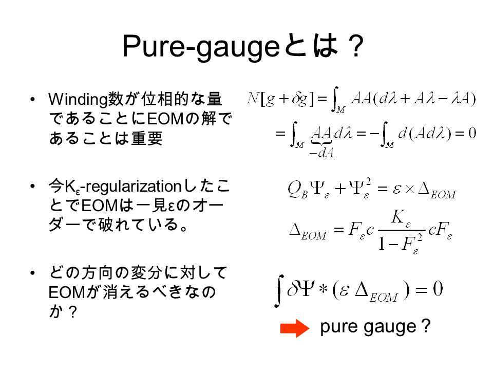 Pure-gauge とは? Winding 数が位相的な量 であることに EOM の解で あることは重要 今 K ε -regularization したこ とで EOM は一見 ε のオー ダーで破れている。 どの方向の変分に対して EOM が消えるべきなの か? pure gauge ?