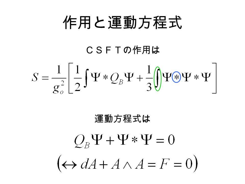 作用と運動方程式 CSFTの作用は 運動方程式は