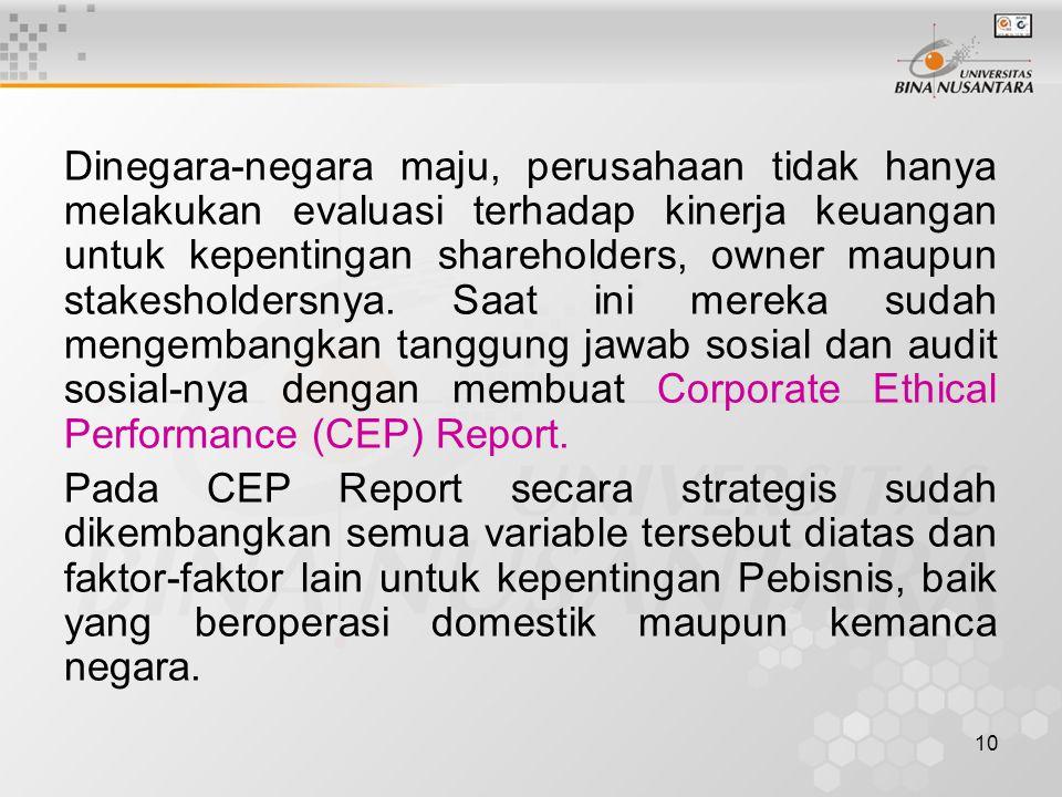 10 Dinegara-negara maju, perusahaan tidak hanya melakukan evaluasi terhadap kinerja keuangan untuk kepentingan shareholders, owner maupun stakesholder