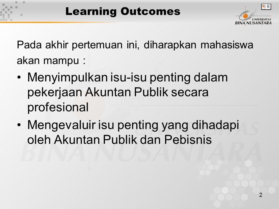 2 Learning Outcomes Pada akhir pertemuan ini, diharapkan mahasiswa akan mampu : Menyimpulkan isu-isu penting dalam pekerjaan Akuntan Publik secara pro