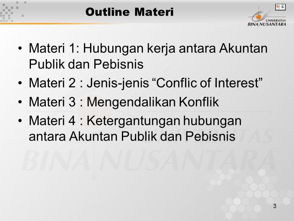 """3 Outline Materi Materi 1: Hubungan kerja antara Akuntan Publik dan Pebisnis Materi 2 : Jenis-jenis """"Conflic of Interest"""" Materi 3 : Mengendalikan Kon"""