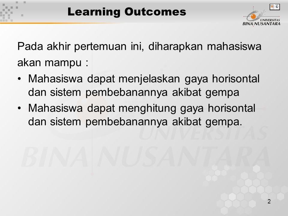 2 Learning Outcomes Pada akhir pertemuan ini, diharapkan mahasiswa akan mampu : Mahasiswa dapat menjelaskan gaya horisontal dan sistem pembebanannya akibat gempa Mahasiswa dapat menghitung gaya horisontal dan sistem pembebanannya akibat gempa.