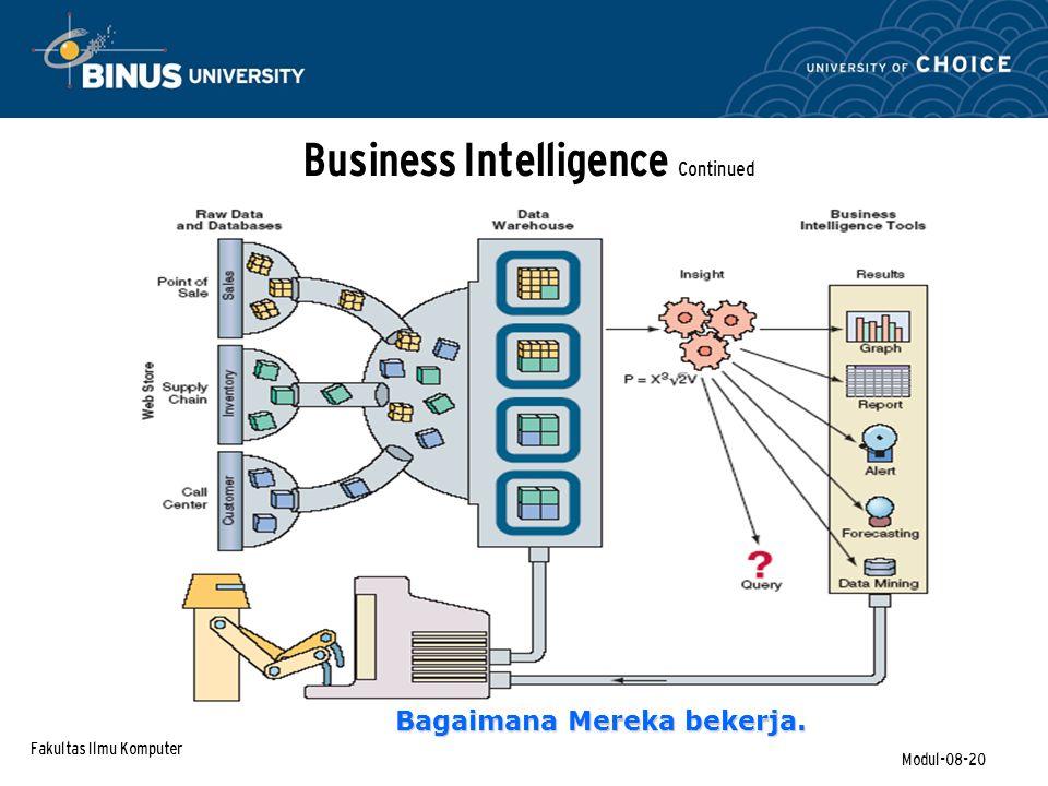 Fakultas Ilmu Komputer Modul-08-20 Business Intelligence Continued Bagaimana Mereka bekerja.