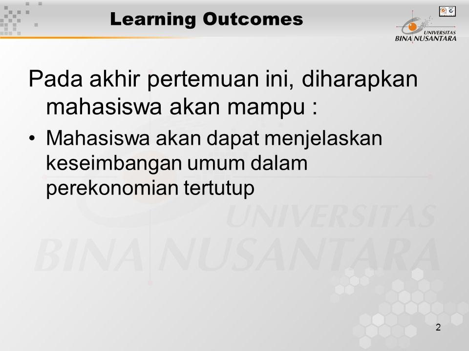 2 Learning Outcomes Pada akhir pertemuan ini, diharapkan mahasiswa akan mampu : Mahasiswa akan dapat menjelaskan keseimbangan umum dalam perekonomian tertutup