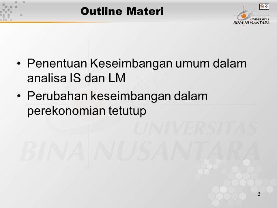 3 Outline Materi Penentuan Keseimbangan umum dalam analisa IS dan LM Perubahan keseimbangan dalam perekonomian tetutup