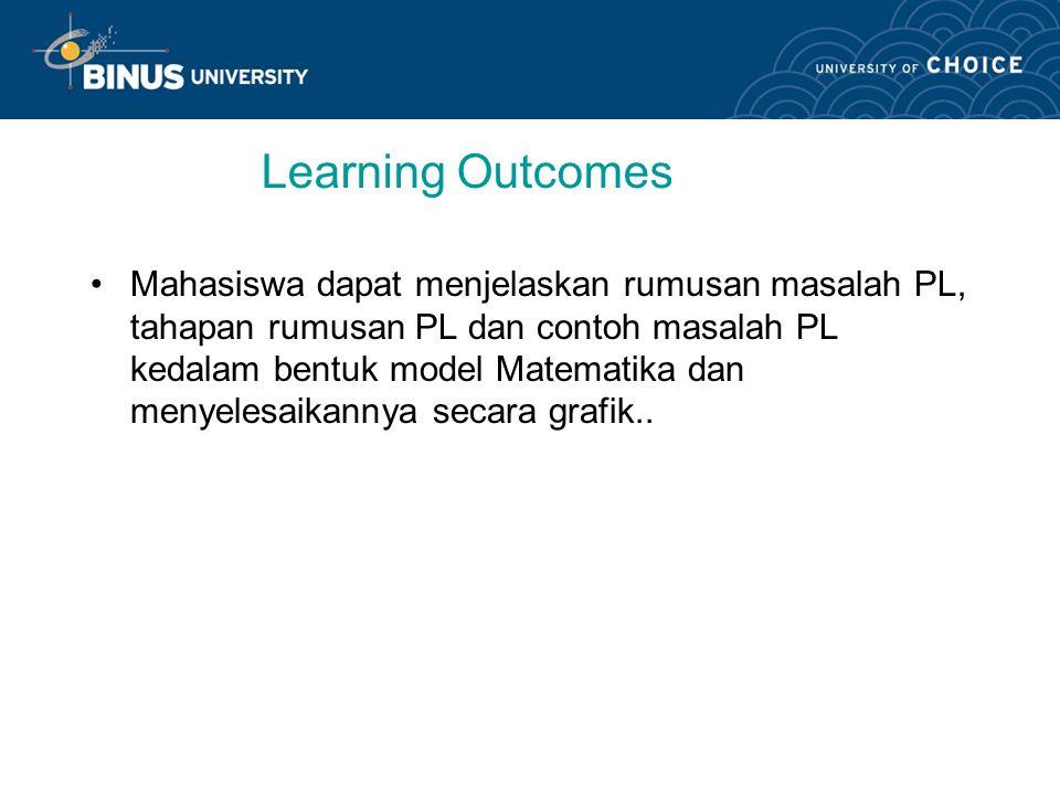 Learning Outcomes Mahasiswa dapat menjelaskan rumusan masalah PL, tahapan rumusan PL dan contoh masalah PL kedalam bentuk model Matematika dan menyelesaikannya secara grafik..