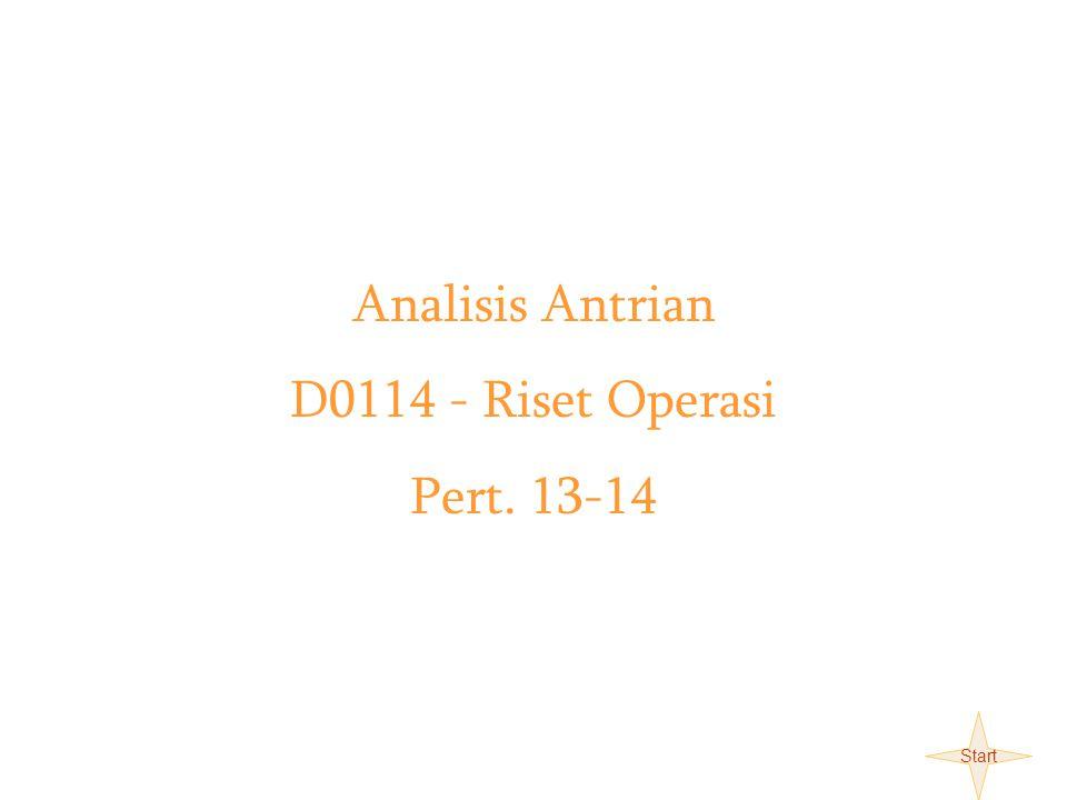 Teori Antrian D0114-Riset Operasi X Analisis Antrian D0114 - Riset Operasi Pert. 13-14 Start
