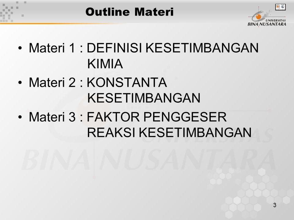 3 Outline Materi Materi 1 : DEFINISI KESETIMBANGAN KIMIA Materi 2 : KONSTANTA KESETIMBANGAN Materi 3 : FAKTOR PENGGESER REAKSI KESETIMBANGAN
