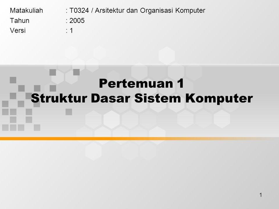 1 Pertemuan 1 Struktur Dasar Sistem Komputer Matakuliah: T0324 / Arsitektur dan Organisasi Komputer Tahun: 2005 Versi: 1