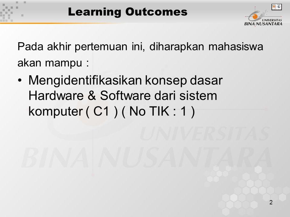 2 Learning Outcomes Pada akhir pertemuan ini, diharapkan mahasiswa akan mampu : Mengidentifikasikan konsep dasar Hardware & Software dari sistem kompu