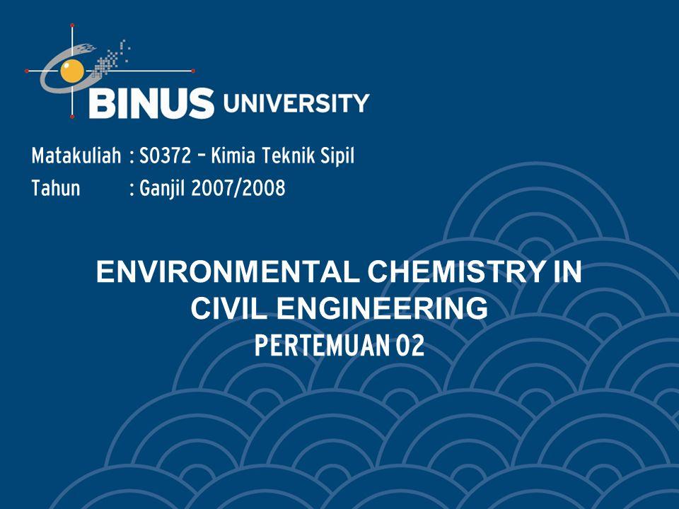 Bina Nusantara ENVIRONMENTAL CHEMISTRY IN CIVIL ENGINEERING 1.Contamination of Environment.