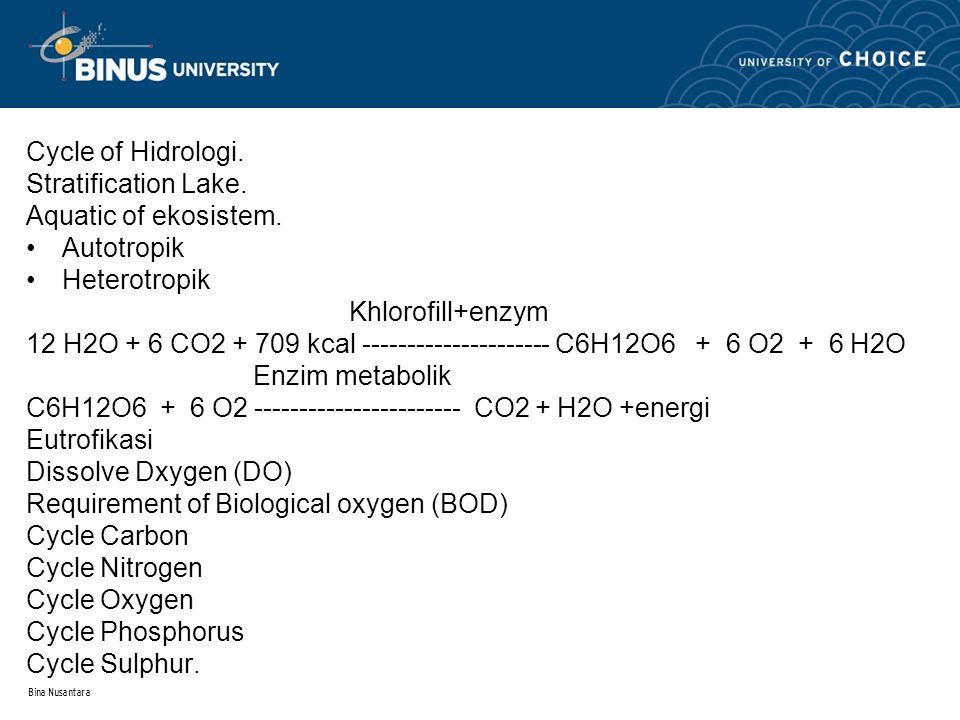 Bina Nusantara Cycle of Hidrologi. Stratification Lake. Aquatic of ekosistem. Autotropik Heterotropik Khlorofill+enzym 12 H2O + 6 CO2 + 709 kcal -----