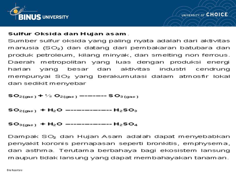 Bina Nusantara Fosfat anorganik terlarut sebagai HPO 4 2-, H 2 PO 4 -, dan polifosfat Limpasan pupuk, air limbah, limbah deterjen Xenobiotic organofosfat Fosfat yang tidak larut seperti Ca 5 (OH)(PO 4 ) 3 atau Besi fosfat ATP dan ADP (asam nukleat) Biological, organic dan fosfat dalam sedimen Assimilasi oleh organisme Biodegradasi Pelarutan dan pengendapaan