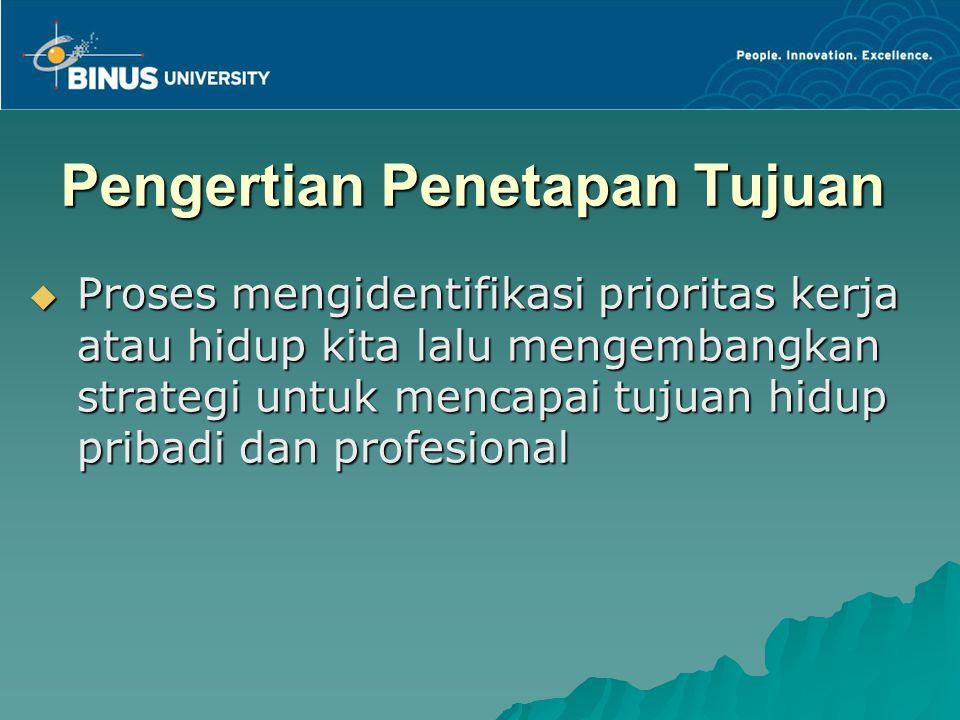 Pengertian Penetapan Tujuan  Proses mengidentifikasi prioritas kerja atau hidup kita lalu mengembangkan strategi untuk mencapai tujuan hidup pribadi dan profesional