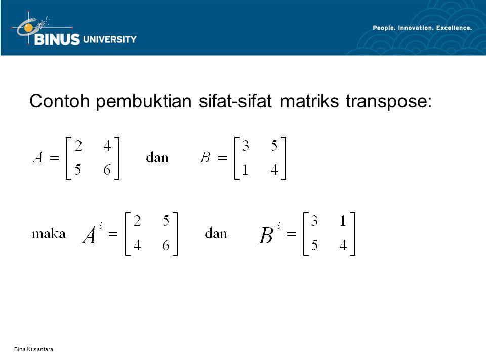 Contoh pembuktian sifat-sifat matriks transpose: