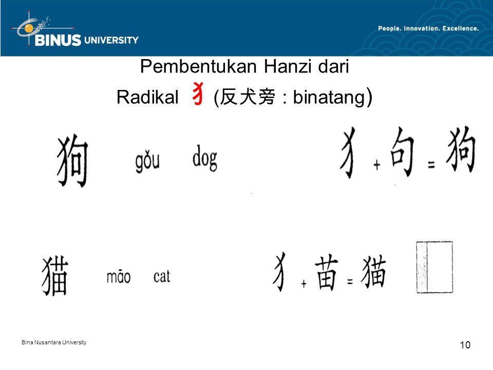 10 Pembentukan Hanzi dari Radikal 犭 ( 反犬旁 : binatang )