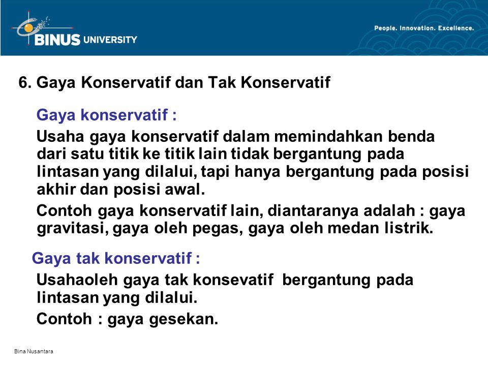 Bina Nusantara 6. Gaya Konservatif dan Tak Konservatif Gaya konservatif : Usaha gaya konservatif dalam memindahkan benda dari satu titik ke titik lain