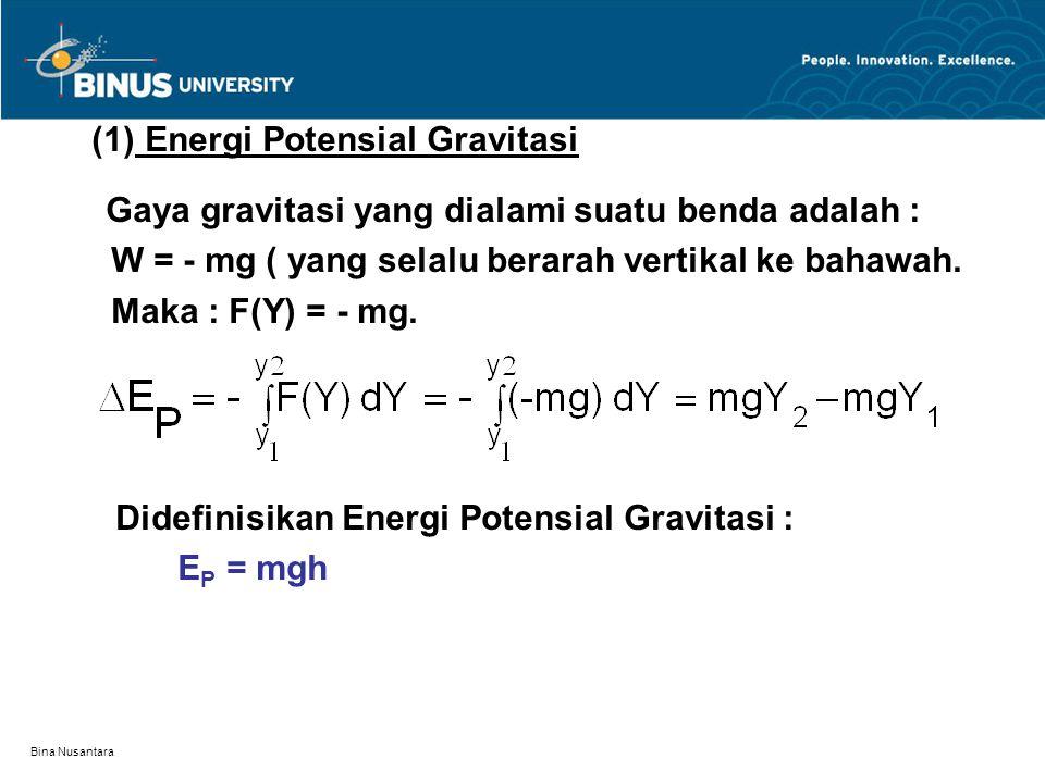 Bina Nusantara (1) Energi Potensial Gravitasi Gaya gravitasi yang dialami suatu benda adalah : W = - mg ( yang selalu berarah vertikal ke bahawah.