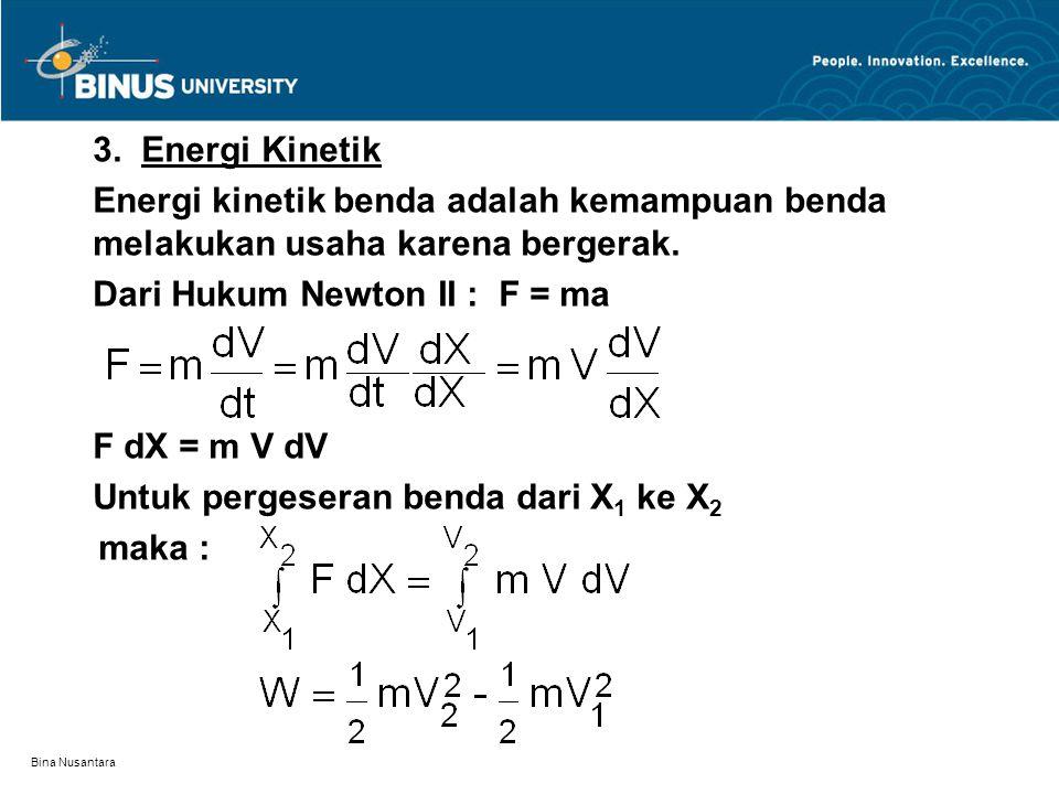 Bina Nusantara 3. Energi Kinetik Energi kinetik benda adalah kemampuan benda melakukan usaha karena bergerak. Dari Hukum Newton II : F = ma F dX = m V