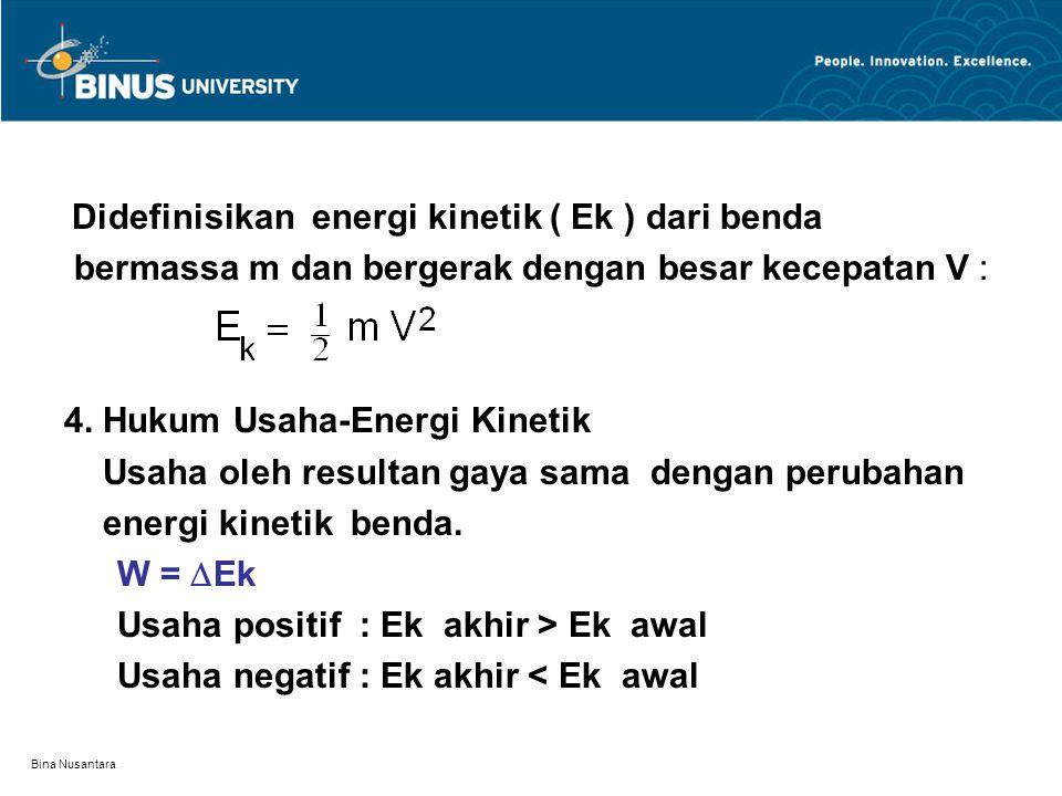 Bina Nusantara Didefinisikan energi kinetik ( Ek ) dari benda bermassa m dan bergerak dengan besar kecepatan V : 4. Hukum Usaha-Energi Kinetik Usaha o