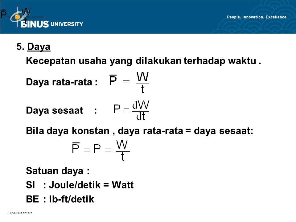 Bina Nusantara 5. Daya Kecepatan usaha yang dilakukan terhadap waktu. Daya rata-rata : Daya sesaat : Bila daya konstan, daya rata-rata = daya sesaat: