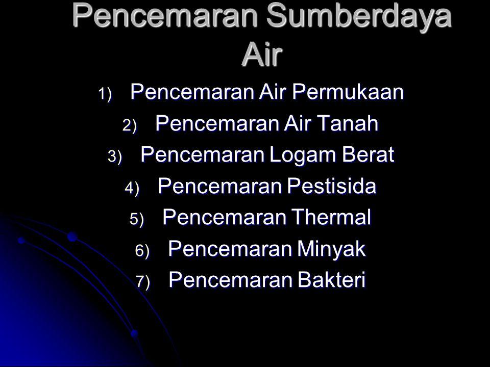 Pencemaran Sumberdaya Air 1) Pencemaran Air Permukaan 2) Pencemaran Air Tanah 3) Pencemaran Logam Berat 4) Pencemaran Pestisida 5) Pencemaran Thermal