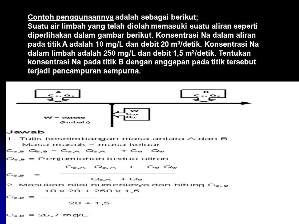 Contoh penggunaannya adalah sebagai berikut; Suatu air limbah yang telah diolah memasuki suatu aliran seperti diperlihakan dalam gambar berikut. Konse