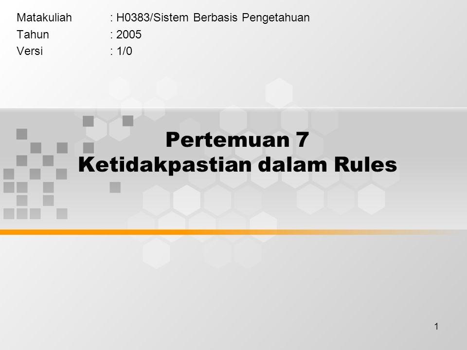 1 Pertemuan 7 Ketidakpastian dalam Rules Matakuliah: H0383/Sistem Berbasis Pengetahuan Tahun: 2005 Versi: 1/0
