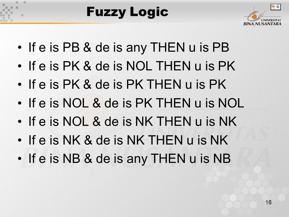 16 Fuzzy Logic If e is PB & de is any THEN u is PB If e is PK & de is NOL THEN u is PK If e is PK & de is PK THEN u is PK If e is NOL & de is PK THEN u is NOL If e is NOL & de is NK THEN u is NK If e is NK & de is NK THEN u is NK If e is NB & de is any THEN u is NB