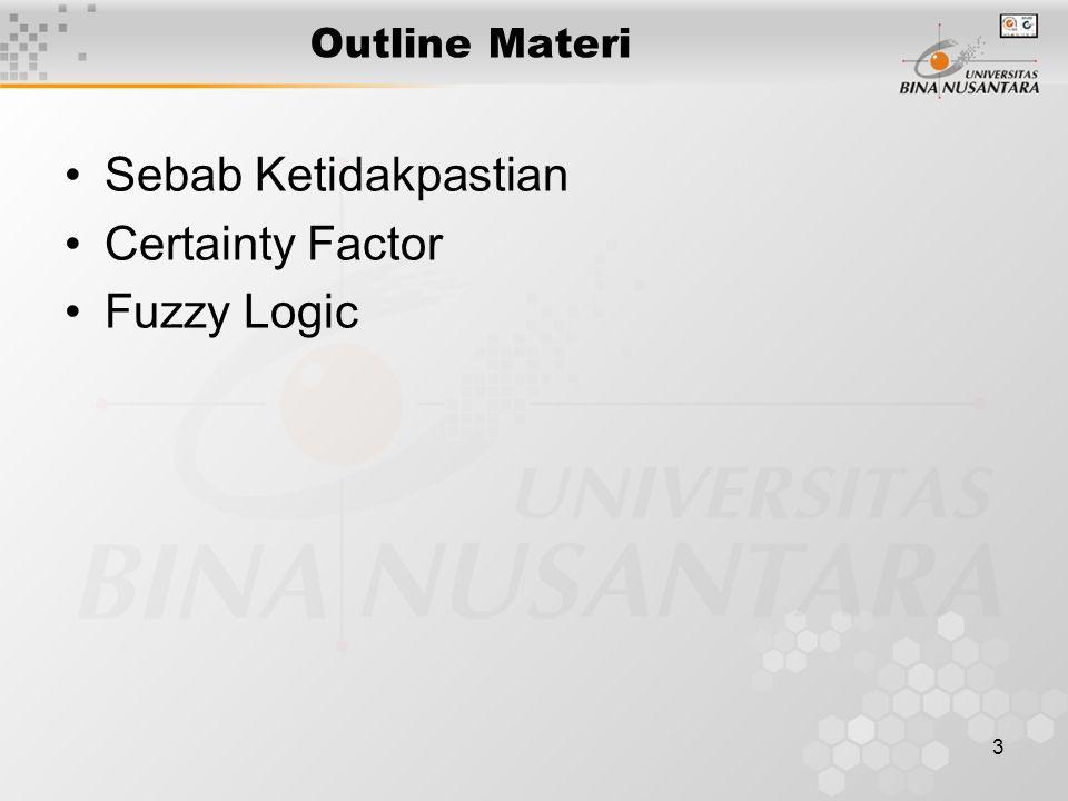 3 Outline Materi Sebab Ketidakpastian Certainty Factor Fuzzy Logic
