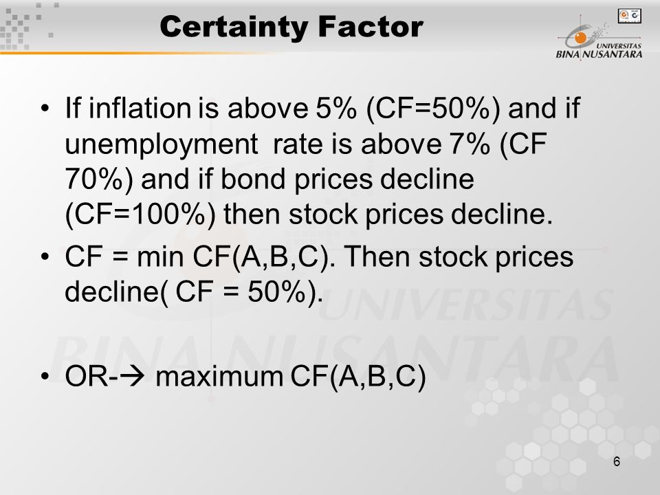 6 Certainty Factor If inflation is above 5% (CF=50%) and if unemployment rate is above 7% (CF 70%) and if bond prices decline (CF=100%) then stock prices decline.