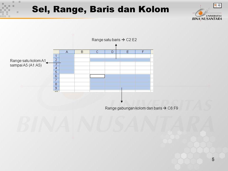 5 Range satu kolom A1 sampai A5 (A1:A5) Range satu baris  C2:E2 Range gabungan kolom dan baris  C6:F9