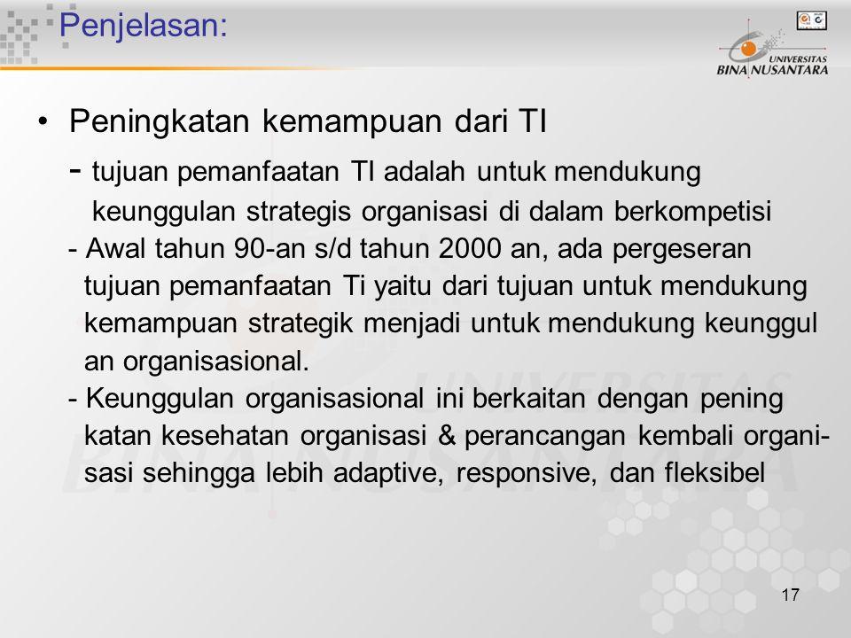 17 Penjelasan: Peningkatan kemampuan dari TI - tujuan pemanfaatan TI adalah untuk mendukung keunggulan strategis organisasi di dalam berkompetisi - Awal tahun 90-an s/d tahun 2000 an, ada pergeseran tujuan pemanfaatan Ti yaitu dari tujuan untuk mendukung kemampuan strategik menjadi untuk mendukung keunggul an organisasional.