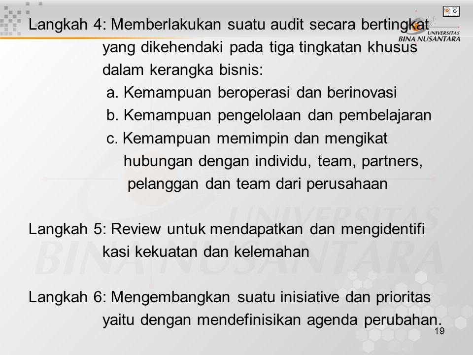 19 Langkah 4: Memberlakukan suatu audit secara bertingkat yang dikehendaki pada tiga tingkatan khusus dalam kerangka bisnis: a.