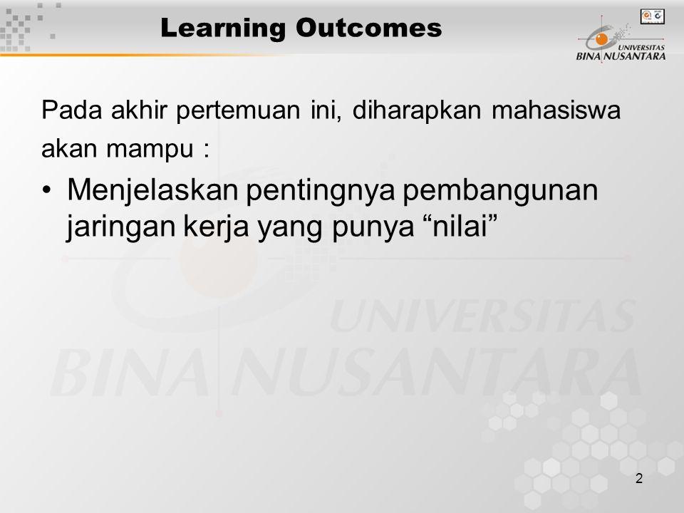 2 Learning Outcomes Pada akhir pertemuan ini, diharapkan mahasiswa akan mampu : Menjelaskan pentingnya pembangunan jaringan kerja yang punya nilai